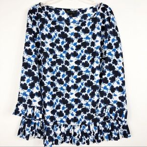 Banana Republic Blue Floral Pleated Blouse
